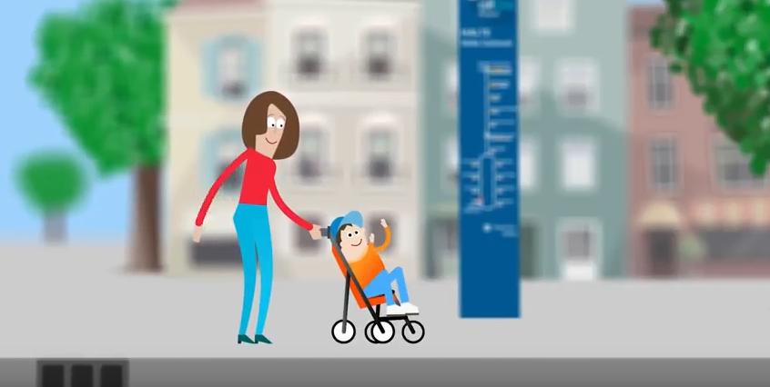 Animatie reizen met een kinderwagen